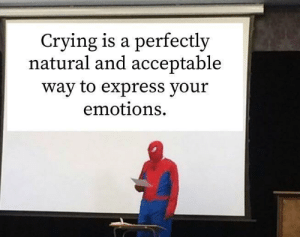 awesomacious:  Emotional honesty is super rad.: Crying is a perfectly  natural and acceptable  way to express your  emotions awesomacious:  Emotional honesty is super rad.