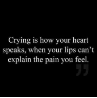 Crying, Heart, and Pain: Crying is how your heart  speaks, when your lips can't  explain the pain you feel.  5