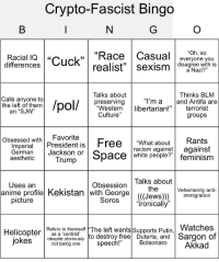 "Anime, Feminism, and Racism: Crypto-Fascist Bingo  ,""Race Casual everyone you  realist"" sexism disagree with is  ""Oh, so  Racial IQ  differences  15  a Nazi?""  Talks about  preserving  Thinks BLM  land Antifa are  terrorist  groups  Calls anyone to  the left of them nn  ""I'm a  Westernlibertarian!  an ""SJW""  Culture  Objpspen wth President is Free -What about Rants  racism againtagainst  Imperial President is  German Jackson or  aesthetic  ace white people?"" feminism  Trump  Talks about  the  Uses arn  Obsession  Vehemently anti-  anime profilel Kekistan with George (((Jewsgration  picture  Sorosironically  Watches  despite obviously to destroy free Duterte, and Sargon of  Helicopter Refers to themself The left wantsSupports Putin  a ""centrist  jokes  BolsonaroAkkad  not being one  speech!"""