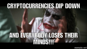Funny, Net, and Down: CRYPTOCURRENCIES DIP DOWN  AND EVERYBODY LOSES THEIR  MINDS!!  mematic.net Cryptocurrency!