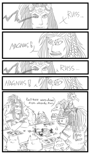 crysdrawsthings:  IDK where I found that idea, but…Another shitpost, featuring my favourite and still DONE™ primarch and his wolf-obsessed brother. Also miserabdle not-a-demon, Fateweaver, a whole pack of pups and that cliche move with focusing on eyes.: crysdrawsthings:  IDK where I found that idea, but…Another shitpost, featuring my favourite and still DONE™ primarch and his wolf-obsessed brother. Also miserabdle not-a-demon, Fateweaver, a whole pack of pups and that cliche move with focusing on eyes.