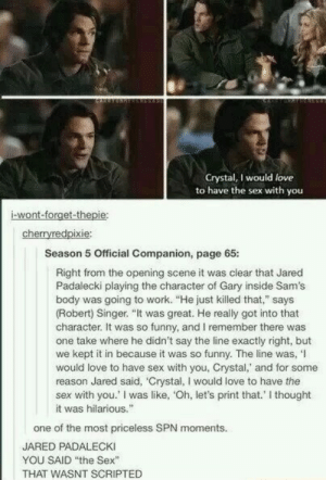 "Scripted: Crystal, I would love  to have the sex with you  i-wont-forget-thepie  cherryredpixie  Season 5 Official Companion, page 65:  Right from the opening scene it was clear that Jared  Padalecki playing the character of Gary inside Sam's  body was going to work. ""He just killed that,"" says  (Robert) Singer. ""It was great. He really got into that  character. It was so funny, and I remember there was  one take where he didn't say the line exactly right, but  we kept it in because it was so funny. The line was,'I  would love to have sex with you, Crystal,' and for some  reason Jared said, 'Crystal, I would love to have thee  sex with you.' I was like, 'Oh, let's print that.' I thought  it was hilarious.  one of the most priceless SPN moments.  JARED PADALECKI  YOU SAID the Sex""  THAT WASNT SCRIPTED"