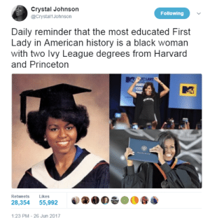 profeminist:Source: Crystal Johnson  @Crystal1Johnson  Following  Daily reminder that the most educated First  Lady in American history is a black woman  with two lvy League degrees from Harvard  and Princeton  ST LADy  NATI  Retweets Likes  28,354 55,992  1:23 PM-26 Jun 2017 profeminist:Source