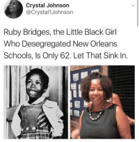ruby bridges: Crystal Johnson  @Crystal1Johnson  Ruby Bridges, the Little Black Girl  Who Desegregated New Orleans  Schools, Is Only 62. Let That Sink In.