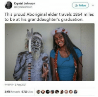 Memes, Aboriginal, and Proud: Crystal Johnson  @CrystalJohnson  Follow  This proud Aboriginal elder travels 1864 miles  to be at his granddaughter's graduation  4:48 PM -1 Aug 2017  2,978 Retweets 6,710 Likes  ㊨参@蝈 this is nice!!