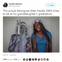 Come along and ride on a fantastic voyage.: Crystal Johnson  @Crystalljohnson  Follow  This proud Aboriginal elder travels 1864 miles  to be at his granddaughter's graduation.  448 PM- 1 Aug 2017  2,978 Retweets 6,710 Likes Come along and ride on a fantastic voyage.
