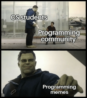 Community, Memes, and Indeed: CS students  Programming  community  Programming  memes Great contribution indeed.