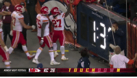 Football, Sports, and Broncos: Cs  YNIGHT FOOTBALL E b KC 26.  T O U С Н。1 W N Travis Kelce got a middle finger from a Broncos fan and decided he'd take it home with him #KCvsDEN https://t.co/ew4zXrqaeo