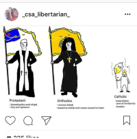Wish we could turn back time to the good ole dayyyysss: csa libertarian  t t  Protestant  Orthodox  Spreading the word of god  removes kebab  -holy and righteous  -byzantine soldier and russian cossack by heart  Catholic  kiddy fiddler  -jews of christianity  heretics Wish we could turn back time to the good ole dayyyysss