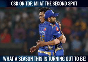 Mumbai Indians take the second spot.: CSK ON TOP, MI AT THE SECOND SPOT  colors  WHAT A SEASON THIS IS TURNING OUT TO BE! Mumbai Indians take the second spot.