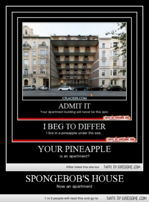 Spongebob's House Is Koolhttp://omg-humor.tumblr.com: CSLACKER.COM  ADMIT IT  Your apartment building will never be this epic.  TASTE OF AWESOME.COM  I BEG TO DIFFER  I live in a pineapple under the sea.  TASTE OF AWESOME.COM  YOUR PINEAPPLE  is an apartment?  TASTE OFAWESOME.COM  Hitler hated this site too  SPONGEBOB'S HOUSE  Now an apartment  1 in 3 people will read this and go to  TASTE OF AWESOME.COM Spongebob's House Is Koolhttp://omg-humor.tumblr.com