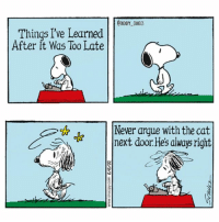 THE CAT WON snoopy peanuts comics woodstock cartoon snoopycomics cat: CSNOOPY COMIOS  Things I've Learned  After it Was Too Late  Never argue with the cat  next door.Hes always right THE CAT WON snoopy peanuts comics woodstock cartoon snoopycomics cat