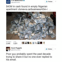 Morning: CTA Edmonton  NEWS  Follow  @ctvedmonton  $43M in cash found in empty Nigerian  apartment ctvnews.ca/business/43m-i  LIKES  2.845  3.251  Nuck Fuggets  Follow  @Mat Houchens  Poor guy probably spent the past decade  trying to share it but no one ever replied to  his email. Morning