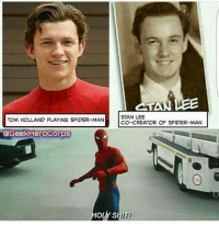 Memes, Shit, and Spider: CTAN LEE  STAN LEE  TOM HOLLAND PLAYING SPIDER-MAN  CO-CREATOR OF SPIDER-MAN  @GeekHeroCorps  OLY SHIT! Damn