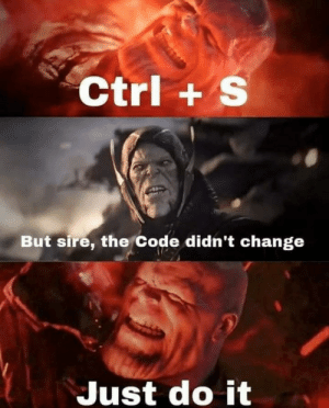 Overprotective Me: Ctrl+ S  But sire, the Code didn't change  Just do it Overprotective Me