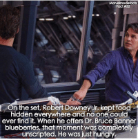 Food, Hungry, and Memes: cts  Fact #32  On the set, Robert DowneyJr,kept food  hidden everywhere and no one could  ever find it. When he offers Dr. Bruce Banner  blueberries, that moment was completely  unscripted. He was just hungry Villains tonystark ironman marvel RDJ hulk avengers comics thor sciencebros marvelmovies blackwidow hawkeye captainamerica starkindustries steverogers teamstark teamcap robertdowneyjr geek superhero superheroes ironman1 ironman2 ironman3 gaurdiansofthegalaxy captainamericacivilwar civilwar marvelcomics marveluniverse