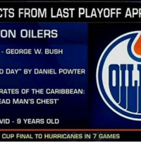 "The last time the Oilers were in the Playoffs..... NHLDiscussion: CTS FROM LAST PLAYOFF APR  ON OILERS  GEORGE W. BUSH  D DAY"" BY DANIEL POWTER  RATES OF THE CARIBBEAN:  AD MAN'S CHEST  VID 9 YEARS OLD  CUP FINAL TO HURRICANES IN 7 GAMES The last time the Oilers were in the Playoffs..... NHLDiscussion"