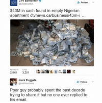 I don't wanna work - koko: CTV Edmonton  Follow  NEWS  @ctvedmonton  $43M in cash found in empty Nigerian  apartment ctvnews.ca/business/43m-i  100  RETMEETS LIKES  A  2.845  3.251  Nuck Fuggets  Follow  @MatHouchens  Poor guy probably spent the past decade  trying to share it but no one ever replied to  his email. I don't wanna work - koko
