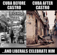 Memes, Cuba, and 🤖: CUBA BEFORE  CASTRO  CUBA AFTER  CASTRO  ANTEHAL  FURNINSA  ...AND LIBERALS CELEBRATE HIM (GC)