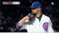 Mlb, Cubs, and World: CUBS  0-0  54  2ouT  TOP 3  UBS  ller Sign the world is ending: JON LESTER PICKED OFF A RUNNER 😱 h-t @kg_holler