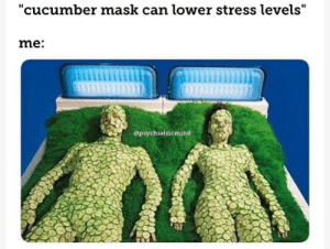 "Mask, Stress, and Cucumber: ""cucumber mask can lower stress levels""  me:  apsychiatricmind"