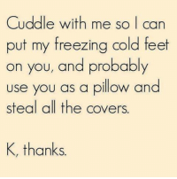 Memes, Covers, and Cold: Cuddle with me so I can  put my freezing cold feet  on you, and probably  use you as a pillow and  steal all the covers.  K, thanks.