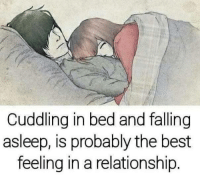 memes: Cuddling in bed and falling  asleep, is probably the best  feeling in a relationship.