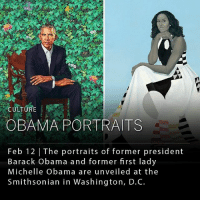 The portraits of former president Barack Obama and former first lady Michelle Obama were revealed today at the Smithsonian's National Portrait Gallery in Washington, D.C. Kehinde Wiley, a New York based visual artist depicted Barack Obama and Amy Sherald, Baltimore-based artist painted Michelle Obama. ___ Both Wiley and Sherald are the first black painters to receive a presidential portrait commission from the museum. ____ Photo: Left, Kehinde Wiley; right, Amy Sherald: CULTUR  OBAMA PORTRAITS  Feb 12 | The portraits of former president  Barack obama and former first lady  Michelle Obama are unveiled at the  Smithsonian in Washington, D.C. The portraits of former president Barack Obama and former first lady Michelle Obama were revealed today at the Smithsonian's National Portrait Gallery in Washington, D.C. Kehinde Wiley, a New York based visual artist depicted Barack Obama and Amy Sherald, Baltimore-based artist painted Michelle Obama. ___ Both Wiley and Sherald are the first black painters to receive a presidential portrait commission from the museum. ____ Photo: Left, Kehinde Wiley; right, Amy Sherald