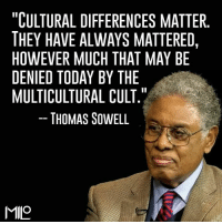 """""""CULTURAL DIFFERENCES MATTER  THEY HAVE ALWAYS MATTERED,  HOWEVER MUCH THAT MAY BE  DENIED TODAY BY THE  MULTICULTURAL CULT  THOMAS SOWELL  MIMO ~ Hollie"""
