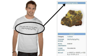 Get me that shirt: Cummingtonite  f you get with me you will be  (Mg.Fe) SigO22OH)2  General  Category  Inosilicate  (Mg.Fe)7Sig022(OH)2  Chemical  formula  09.DE.05  Strunz  classification  Crystal  Monoclinic 2/m  symmetry  a 9.53 A, b 18.23 A, c 5.32  A B 101.97, Z 2  Unit cell Get me that shirt