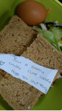 I asked my wife to put abusive notes in my lunchbox instead of the usual soppy love notes. This is day 2: cunt Cooae  tHope Y00 Shit ta  Ou I asked my wife to put abusive notes in my lunchbox instead of the usual soppy love notes. This is day 2