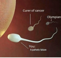 Jesus, Cancer, and Failure: Curer of cancer  Olympian  You:  A pathetic failure Jesus Christ