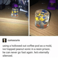 Harry Potter, Memes, and Prison: curioscurio  using a hollowed out coffee pod as a mold,  ive trapped peanut sonic in a resin prison.  he can never go fast again. he's eternally  silenced. im 1-7th through rereading harry potter nice