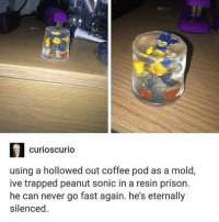 we have captured a beast, the towns are safe...but no one knows for how long - Max textpost textposts: curioscurio  using a hollowed out coffee pod as a mold,  ive trapped peanut sonic in a resin prison.  he can never go fast again. he's eternally  silenced we have captured a beast, the towns are safe...but no one knows for how long - Max textpost textposts