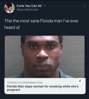 Ever Heard: Curls You Can 4C  @jaynellenicole  This the most sane Florida man I've ever  heard of.  i  THEONLYFLORIDAMAN.COM  Florida Man slaps woman for smoking while she's  pregnant