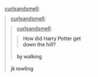 thats punny: curlsands mell:  curls andsmell:  curlsandsmell  How did Harry Potter get  down the hill?  by walking  jk rowling thats punny