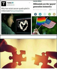 Community, Fucking, and Memes: Current Afiairs  TONIC  @dailytonic  Millennials are the 'gayest'  generation inAmerica  Why has rectal cancer quadrupled in  millennials? bit.ly/2mpOhhQ  Betty Ax If the media didnt push gay shit onto young kids we wouldn't have this problem but oh well 😂👌 lets raise a generation of kids who think that they can change their gender at will and not reproduce because, wait for it, they're fucking gay 😐 ion hate the LGBTQ community but what I do hate is retards, no offense @pidga.