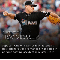 Miami Marlins pitcher, Jose Fernandez, 24, one of Major League Baseball's best, was killed in a boating accident in Miami Beach early Sunday morning. _ Fernández and two other men were found dead after their 32-foot boat was discovered crashed near Miami Beach, said Fish and Wildlife Commission public information officer Lorenzo Veloz. _ Fernandez hailed from Cuba. He defected to the US on his fourth attempt, at age 15 in 2008, and saved his mother from drowning when she fell overboard.: CURRENT EVENTS  TRAGIC LOSS  Sept 25 One of Major League Baseball's  best pitchers, Jose Fernandez, was killed in  a tragic boating accident in Miami Beach Miami Marlins pitcher, Jose Fernandez, 24, one of Major League Baseball's best, was killed in a boating accident in Miami Beach early Sunday morning. _ Fernández and two other men were found dead after their 32-foot boat was discovered crashed near Miami Beach, said Fish and Wildlife Commission public information officer Lorenzo Veloz. _ Fernandez hailed from Cuba. He defected to the US on his fourth attempt, at age 15 in 2008, and saved his mother from drowning when she fell overboard.