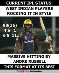 #IPL #AndreRussell #CSKVSKKR: CURRENT IPL STATUS:  WEST INDIAN PLAYERS  ROCKING IT IN STYLE  88(36)  4'S 1  6'S 11  GiONEE  LAUGHING  MASSIVE HITTING BY  ANDRE RUSSELL  THIS FORMAT AT ITS BEST  Ca La (2回をク/laughingcol ours #IPL #AndreRussell #CSKVSKKR