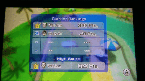 I'm merciless when playing Wii table tennis: Current Rankings  bO WDJam  323 Pts.  48 Pts.  KITKAT  High Score  A WDJam  323 Pts.  A, I'm merciless when playing Wii table tennis