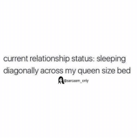 SarcasmOnly: current relationship status: sleeping  diagonally across my queen size bed  sarcasm only SarcasmOnly