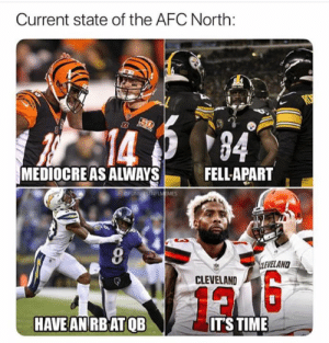 Mediocre, Nfl, and Browns: Current state of the AFC North:  133  94  MEDIOCRE AS ALWAYS  FELLAPART  OFUNNISTNFLMEMES  CLEVELAND  12  HAVE AN RB ATQB  IT'STIME Browns going 16-0!
