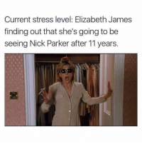 current and forever mood 🙃 (@betches): Current stress level: Elizabeth James  finding out that she's going to be  seeing Nick Parker after 11 years. current and forever mood 🙃 (@betches)