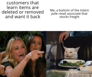 Reddit, Stocks, and Retail: customers that  learn items are  deleted or removed  and want it back  Me, a bottom of the totem  pole retail associate that  stocks freight Am I right Retail workers?