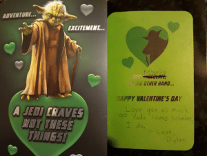 Customized a Yoda Valentine's Day Card for a Friend: Customized a Yoda Valentine's Day Card for a Friend