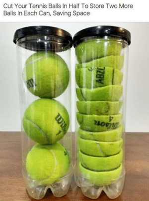 Tennis: Cut Your Tennis Balls In Half To Store Two More  Balls In Each Can, Saving Space  ABZO  Wi