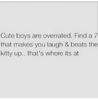 Cute, Beats, and Girl Memes: Cute boys are overrated. Find a 7  that makes you laugh & beats the  kitty up.. that's where its at Right on @princessdiana1209 😂