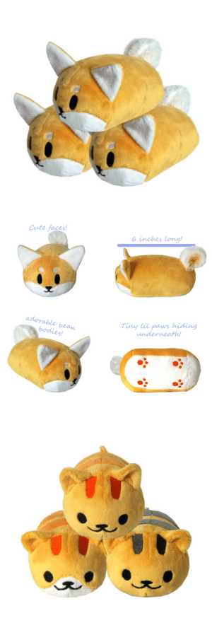 Cute, Tumblr, and Blog: Cute faces!  o inches long!  adorable bean  Tiny lil paws hiding  underneath plushmayhem:  Shiba and new styles of neko atsume tsums are now available!  Check out my etsy to meet these cuties and take one home! 3 Reblogs are extremely appreciated!