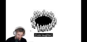Cute, Laughter, and Hole: |(Cute laughter) Kicks people into hole
