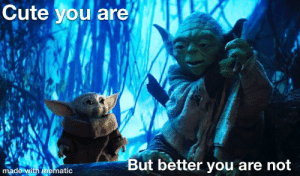 Cute, Star Wars, and Yoda: Cute you are  But better you are not  made with mematic When I see all the controversy surrounding baby yoda and the Star Wars series...